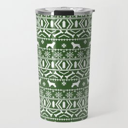 Cocker Spaniel fair isle christmas pattern dog breed holiday gifts green and white Travel Mug