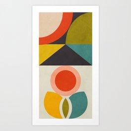 mid century bauhaus geometry large 2 Art Print