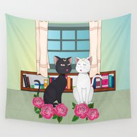 anime Wall Tapestries featuring Anime Cats by MyimagesArt