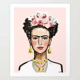 Frida on Soft Pink Kunstdrucke