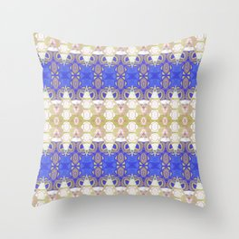 Boujee Boho Indigo Gold Gilded Sensual Goth Lace Geometric Throw Pillow