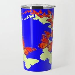 Monarch Butterflies Migration in Blue & Grey Pattern Art Travel Mug