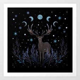 Deer in Winter Night Forest Art Print