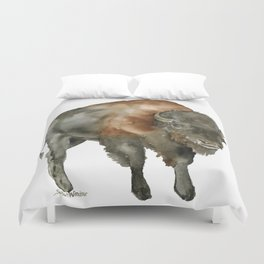 American Bison 2 Watercolor Painting Duvet Cover
