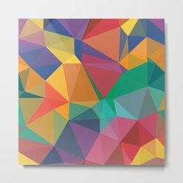Colorful, Purple, Orange, Dark Green, Red, Magenta, Triangular low poly, mosaic abstract pattern bac Metal Print