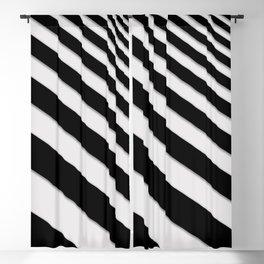 Perspective Solid Lines - Black and White Stripes - Digital Illustration - Artwork Blackout Curtain