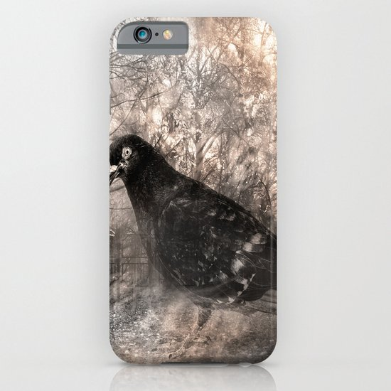 Black bird and the foggy path iPhone & iPod Case
