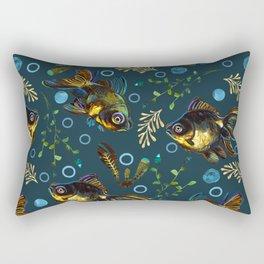 Colorful Black Moor Goldfish Pattern Rectangular Pillow