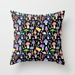 Colorful Mushroom Watercolor on Black Throw Pillow