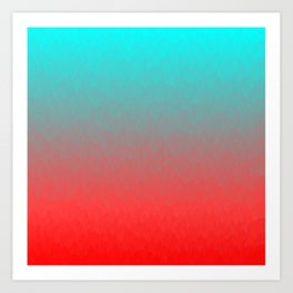Cyan to red ombre flames Miami Sunset Art Print