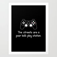 playstation Art Prints featuring PlayStation (Black) by Mokokoma Mokhonoana