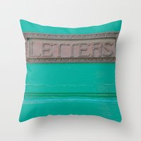 letters Throw Pillows featuring Letters by Riot Jane