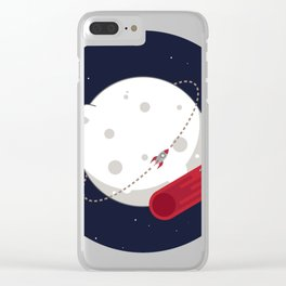 Meteor Minimal Space Print Clear iPhone Case