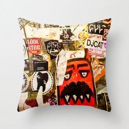 Austin Stick It Graffiti Stickers Throw Pillow