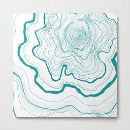 Tree Rings of Turquoise Metal Print