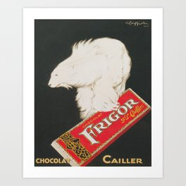Polar Bear and Chocolate Candy Vintage Advertisement Art Print