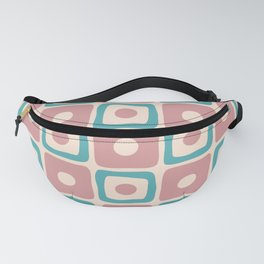 Mid Century Modern Square Dot Pattern 693 Dusty Rose and Turquoise Fanny Pack