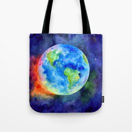 Watercolor painting of Earth Tote Bag