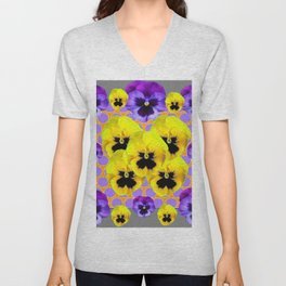 YELLOW & PURPLE SPRING PANSIES ART Unisex V-Neck