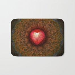 Valentine Heart Mandala Abstract (Love Overcomes the Darkness) Bath Mat