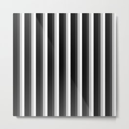 STRIPES Black Gray & White Ombre Metal Print