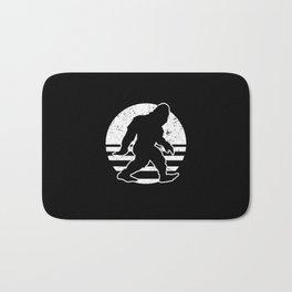 Retro Bigfoot Sasquatch Silhouette Cartoon Bath Mat