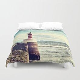 Amble Pier Lighthouse Duvet Cover