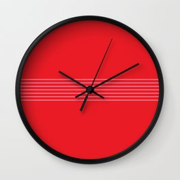 Fine Pink Lines on Red Wall Clock