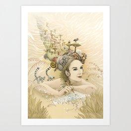 Animal princess Art Print