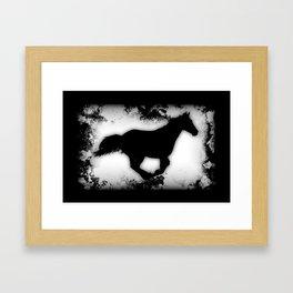 Western-look Galloping Horse Silhouette Framed Art Print