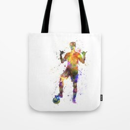 soccer football player young man saluting Tote Bag