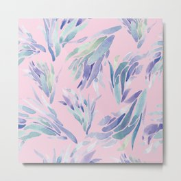 Succulent Pattern Pink- watercolor Metal Print