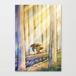 Bear Skating in Woods Canvas Print