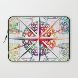 Travellers Spirit Colourful Celtic Travel Adventure Compass Design Laptop Sleeve