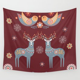 Nordic Winter Red Wall Tapestry