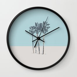 Palm trees on a solitary beach Wall Clock