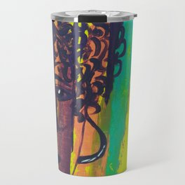 Original Artwork Abstract Painting Curly Haired Girl Travel Mug