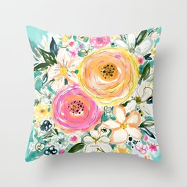 SMELLS LIKE SWEET LOVE Floral Throw Pillow