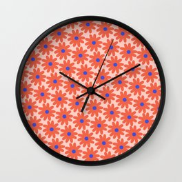 Crayon Flowers 1 Smudgy Floral Pattern in Coral and Bright Blue on Millennial Pink Wall Clock