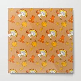 Happy thanksgiving day pattern Metal Print