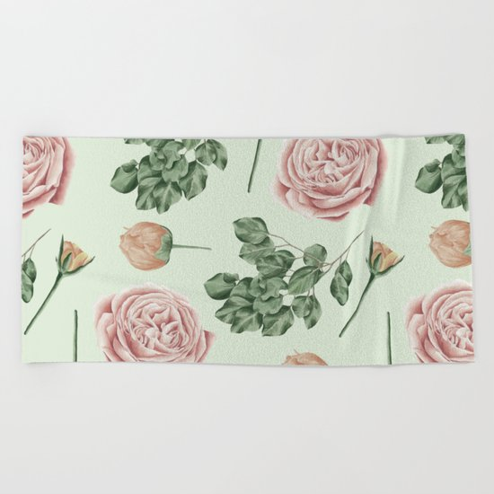 Rose Garden Delight Mint Green + Pink Beach Towel
