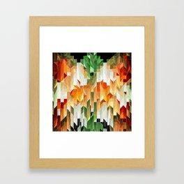 Geometric Tiled Orange Green Abstract Design Framed Art Print
