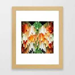 Geometric Tiled Orange Green Abstract Design Framed Art Print
