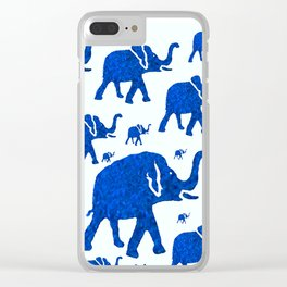 ELEPHANT BLUE MARCH Clear iPhone Case