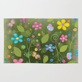 Floral and Butterfly Pattern - Summer Blooms Rug