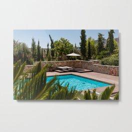 Beautiful Summer Pool Day Metal Print