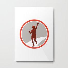 Female Marathon Runner Running Circle Retro Metal Print