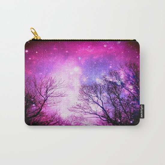 Black Trees Fuchsia Pink Space Carry-All Pouch