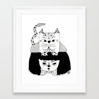 mew Framed Art Prints featuring mew by Jen Lin Aliaga