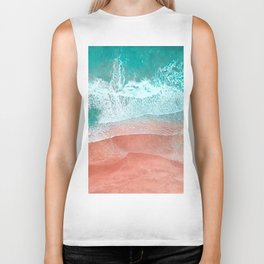 The Break - Turquoise Sea Pastel Pink Beach II Biker Tank